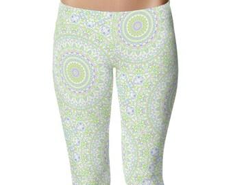 Spring Yoga Pants Mid Rise Waist, Cute Summer Printed Leggings, Yoga Leggings Womens Pattern Tights