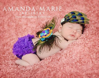 Purple baby Bloomer, ruffle diaper cover, newborn bloomer, Ruffle bottom bloomer, purple diaper cover, newborn photo prop- Ready to ship