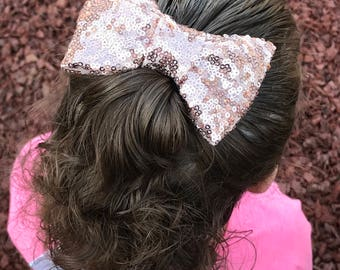 ROSE GOLD Sequin Hair Bow Clip