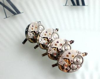 Steampunk Tuxedo Shirt 'Button Studs' Choose Bulova Watch Movement, Classic Wedding Day Groom Gift, Purchase Matching Cufflinks Seperately
