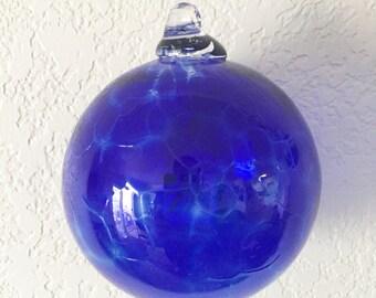 Blue Ornament, Cobalt Blue Glass, Blown Glass, Glass Ornament, Christmas Ornament, Christmas Gift, Ornaments, Hand Made