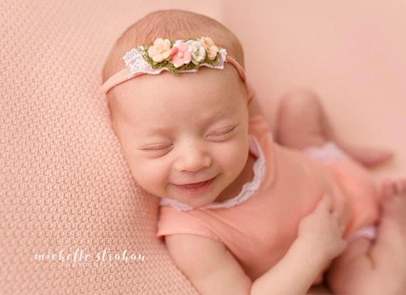 Peach Newborn Girl Romper - Newborn Lace Romper - Spring Photo Baby Romper - Summer Baby Photo Outfit