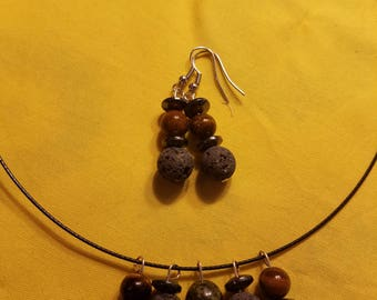 Lava Bead and Semi Precious Stone Set