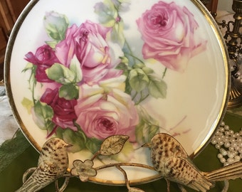 ZS & Co Vintage rose gold rimmed plate