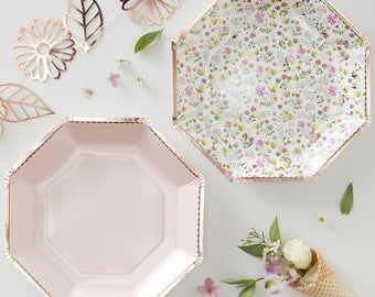 Rose Gold Floral Plates Afternoon Tea Plates Girls Party Plates Floral Tableware  sc 1 st  Etsy & Floral paper plates | Etsy