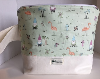Knitting Project Bag, Wedge Bag, Zippered Bag, Large Shawl Size, Gnomes, Green Background