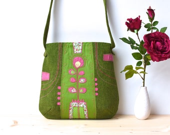 Unique Green Bag/ Handmade Shoulder Bag/ Flower Hobo Bag/ Floral Shoulder Bag/ Colorful Handbag/ Handcrafted Purse/ Floral Tote Bag/ Vegan
