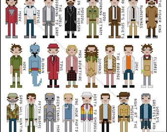 Robin Williams Tribute Movie Costumes Cross Stitch - PDF Pattern - INSTANT DOWNLOAD