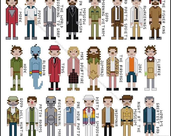 Robin Williams Tribute Movie Costumes Cross Stitch - PDF Pattern - INSTANT DOWNLOAD