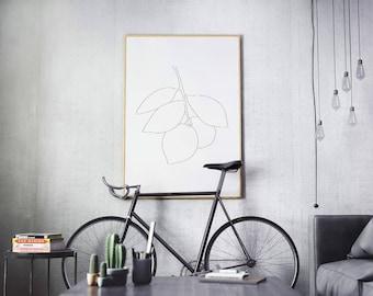 Lemon wall art, kitchen decor, minimal lemon tree decor, minimalist plant print, Botanical poster, Floral wall art, minimalist line drawing