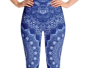 Leggings Blue High Waist Yoga Pants, Women's Printed Leggings, Mandala Blue Leggings