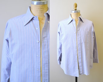 1980s Blue and Pink Striped Oxford Shirt