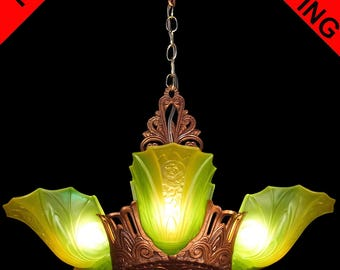 Art Deco Chandelier Antique original green/yellow frosted glass 5 light Slip shade, by Globe/Electrolier - ceiling fixture pendant c1930s