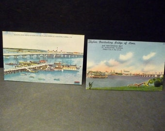 2 St. Aug., Fl. Water View & Bridge of the Lions  Post Cards - Linen 1950's