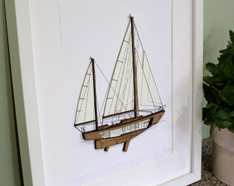 Sailboat wall art 3d wall art nautical home decor boat 3d sailboat wall art custom wall art nautical decor boat blueprint laser malvernweather Image collections