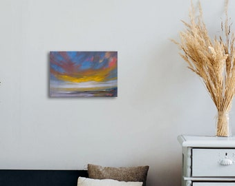 "Abstract Painting, Oil Painting, Landscape Painting, Home Decor, 8"" x 12"", Modern Painting, Wall Art, Sky Painting, Original Art"