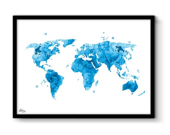 World map poster, art print world map, watercolor world, map A3 or A4 paper, anniversary gift