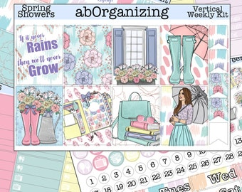 Spring Showers Vertical Weekly Kit for the Erin Condren Life Planner // Rain Vertical Kit // April Vertical Kit