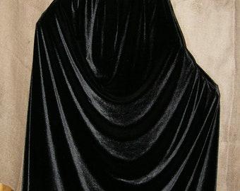Black Long Velvet Hooded Cloak, Raven Cloak, Witch Cloak, Velvet Cape