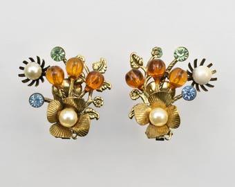 Vintage Mid Century Bead Rhinestone Gold-tone Clip Earrings