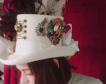 White Steampunk Top Hat