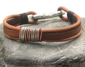 Birthday gift, Men's leather bracelet, Brown and natural leather multi strand leather bracelet with  metal work handmade clasp