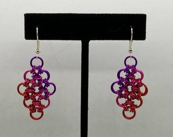 Violet, Pink and Red Ombre Japanese Lace Chainmaille Earrings
