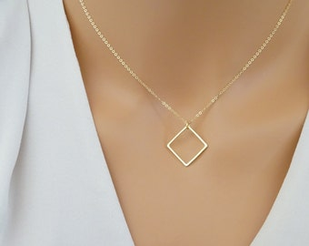 Square Necklace, Delicate Layering Necklace, 14 K Gold fill chain, Gold necklace, Geometric neckalce