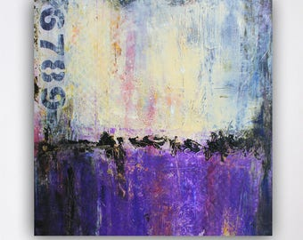 Urban Cold Wax,Purple Painting,Oil and Cold Wax Painting,Purple Wall Decor,Original Artwork,Collectible,Weathered Art,10 x 10,Ready to Hang