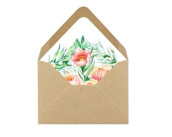 Printable Peach and Light Pink Floral Burst Envelope Liner/Patterned Backer 8.5 x 11 - INSTANT DOWNLOAD