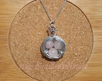 Rose Quartz Bird Nest Pendant Necklace