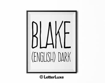 Blake Printable Kids Gift - Name Meaning Art - Baby Shower Gift - Nursery Art - Digital Print - Nursery Decor - Typography Wall Decor