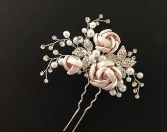 Bridal Hair Pin, Wedding Hair Pin In Blush Champagne, Pearl, Crystal, Flower Hair Pin, Bridal Headpiece, Bridal Hair Vine