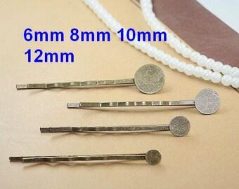 50PCS Bobby Pins Hair Clips with Blank Pad Glue Pad Flat Pad, Hair pin with 6mm 8mm 10mm 12mm blank flat pad