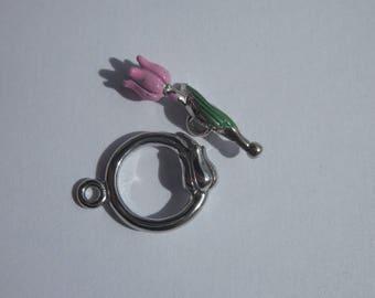 Toggle clasp in silver - stem Flower Pink 1.4 cm stem 2.1 cm (215).