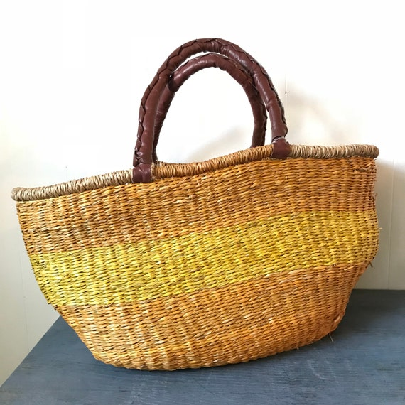 vintage sisal tote with leather handles - woven market bag - boho book bag - carry on - orange yellow stripes
