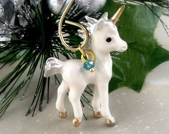 Porcelain Unicorn Ornament - Unicorn Christmas Ornament Decor - Personalized Birthstone Crystal - Womens Unicorn Gift For Her - Fantasy Gold