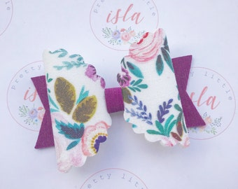 Beautiful summer floral fabric hairbow clip or headband