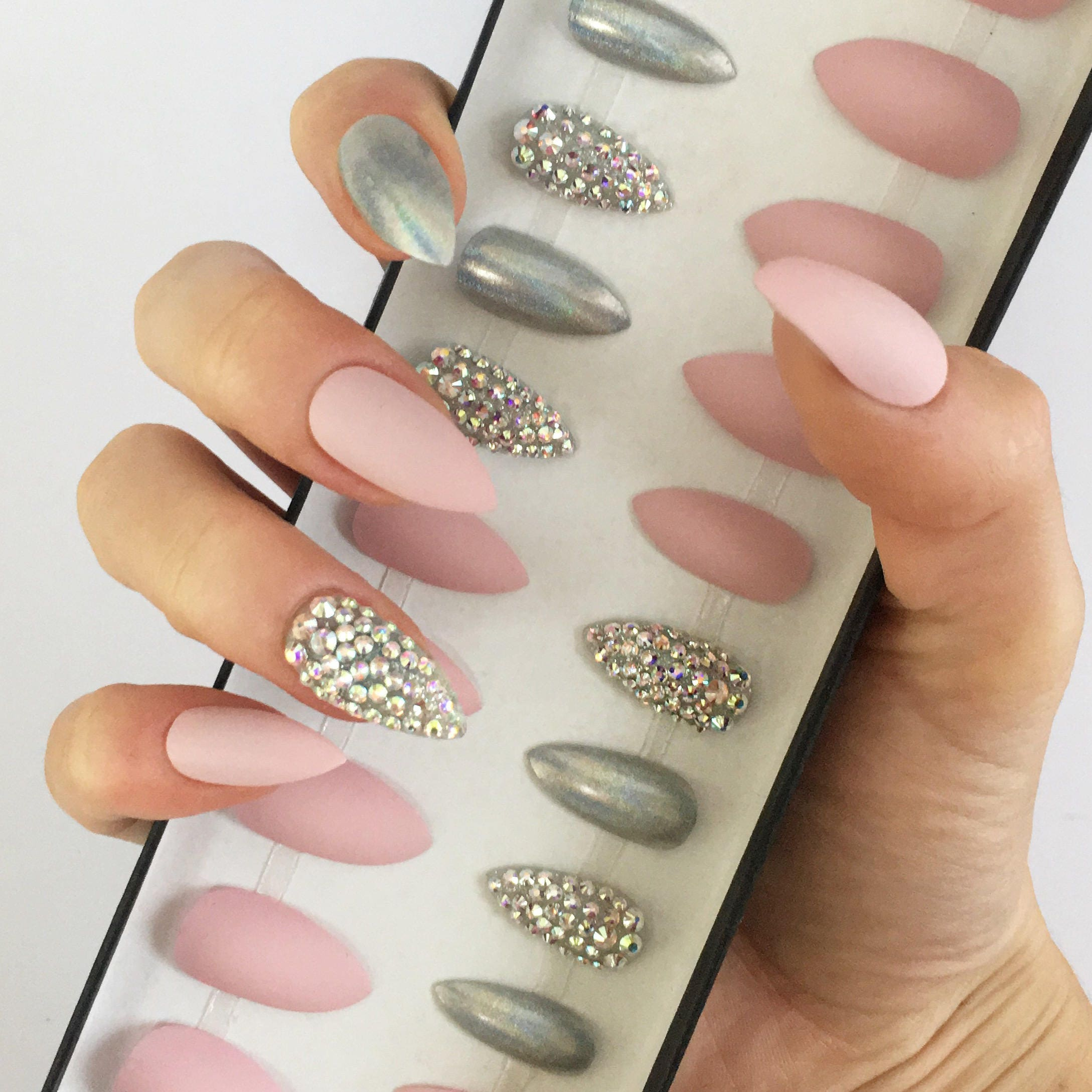 Pink press on nails Swarovski crystals stiletto nails