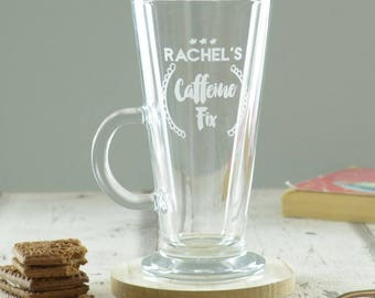 Personalised Caffeine Fix Engraved Latte Coffee Glass