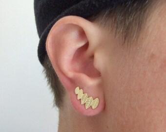 Gold Leaf Stud Earrings - climbing earrings , stud earrings , gold stud earrings , stud leaf earrings , woodland earrings , wedding earrings