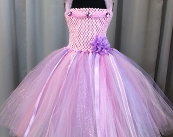 Pink & lavender princess tulle tutu dress, tutu dress for girls, birthday dress, gift for her, dress up, princess dress