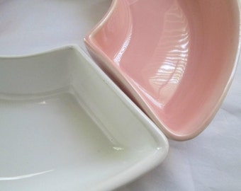 Vintage Miramar of California Pottery Pink and White Dishes