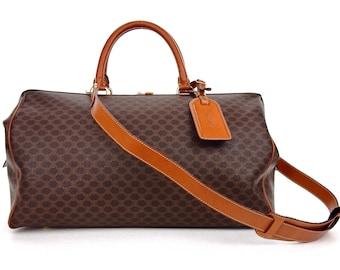 Vintage Céline Doctor Duffle 2-Way Brown Macadam Canvas Leather Weekend/Travel Bag