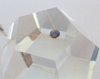 Minimal Modern Simple Sapphire Gold Filled Pendant Necklace
