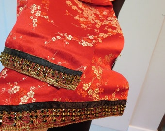 Luxurious Silk Brocade Scarf  - Couture Style
