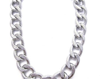 Textured Silver Necklace | Statement Necklace | Chunky Chain Necklace | Large Link Necklace | Silver Choker | Jumbo Link Necklace