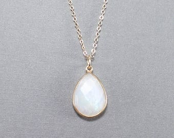Large Tear Drop Gemstone Pendant Necklace