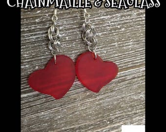 Eco-friendly Handcrafted Dangle Earrings for Women:  Translucent Red Cultured Sea Glass Hearts