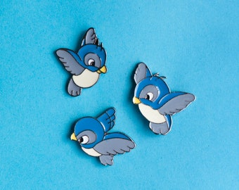 Blue birds enamel pin